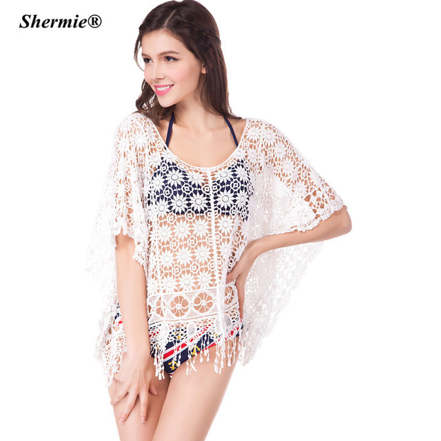 cc42d6e4bcc Beach Cover-Up Crochet Bikini Swimwear Tunic Sexy Lace Tassel Swimsuit High  Waist Plus size Bathing Suit Cover Ups Pareo  Q54
