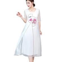 d33583a1d Verano elegante flor bordado blanco vestido mujeres gasa split vestidos  largos para mujer manga corta de gran tamaño robe femme