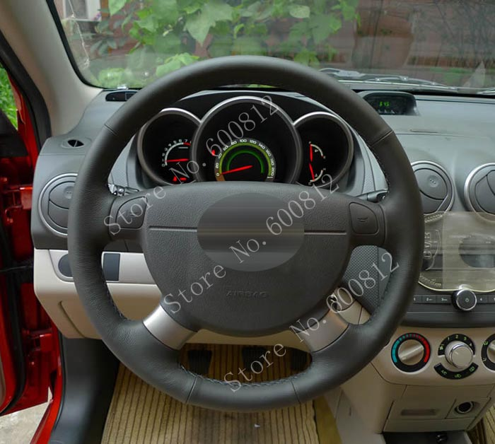DIY Black cowhide Leather Steering Wheel Cover for Chevrolet Lova Aveo Buick Excelle Daewoo Gentra 2013