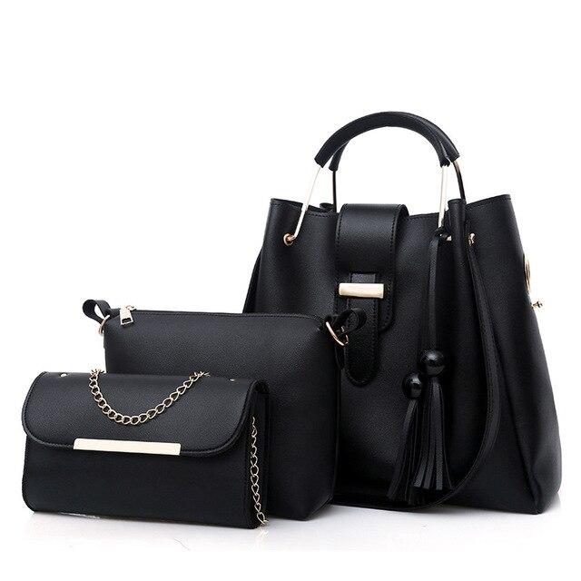 2018 Women 3Pcs/Set Handbags PU Leather Shoulder Bags Casual Tote Bag Tassel Metal Handle Designer Composite Bags bolsa feminina