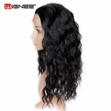 Wigne Lace Front Wig Synthetic Fibre Hair Pure Color Natural Black High Temperature Cosplay Hair Афроамериканський перук для жінок