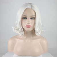 Marquesha White Bob Synthetic Lace Front Wig Heat Resistant Fiber Short Wavy Lace Front Wigs For Women