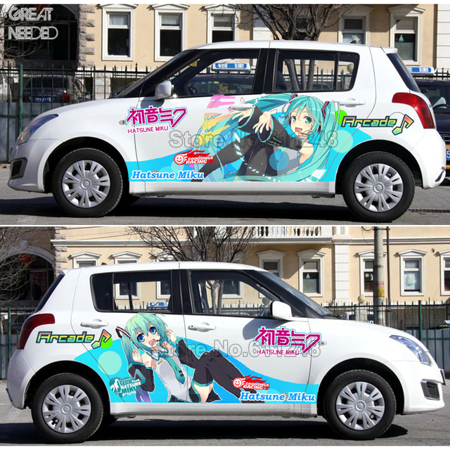 Cartoon Anime ACGN Car Sticker For Hatsune Miku Paint Car Racing ody Decals Decorative Film Change Color Film Drift Stickers