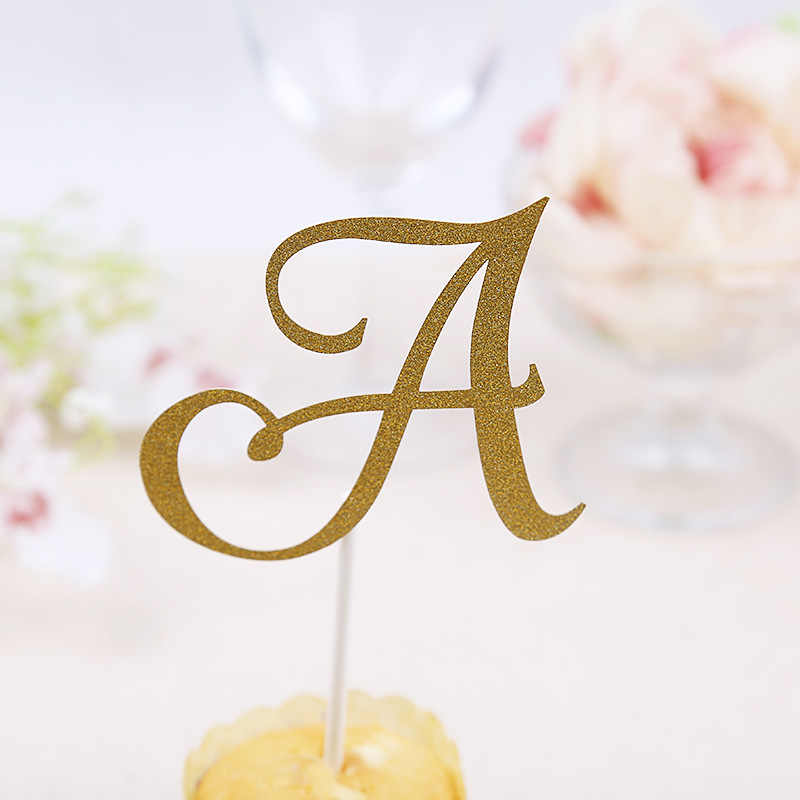 A B C Letter Cake Topper Cupcakes flags Bridal Shower Glitter Shiny Paper Bachelorette Hawaiian wedding Birthday Festival Party