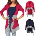 Novas chegadas Mulheres Patchwork Cardigan 2016 Outono Malha Camisolas Casacos da Longo-Luva Casual Solto Feminina Suéter Cardigan