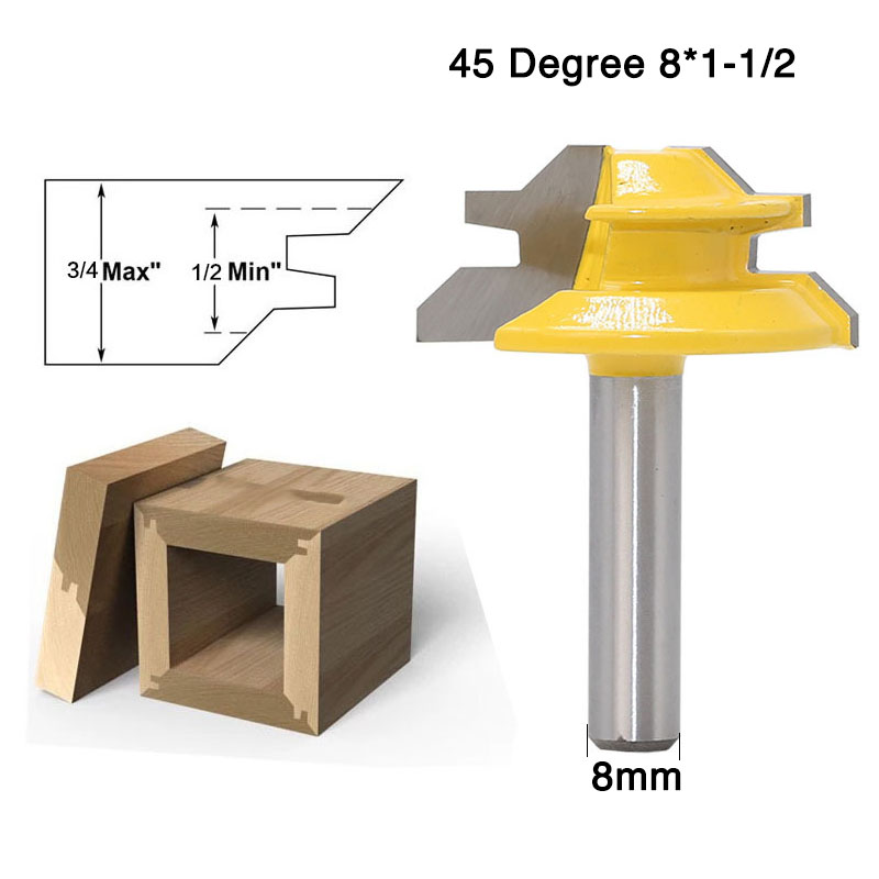 8mm Shank 45 Degree - Up to 3/4 Stock Lock Miter Router Bit Tongue and Groove Router Bit Set