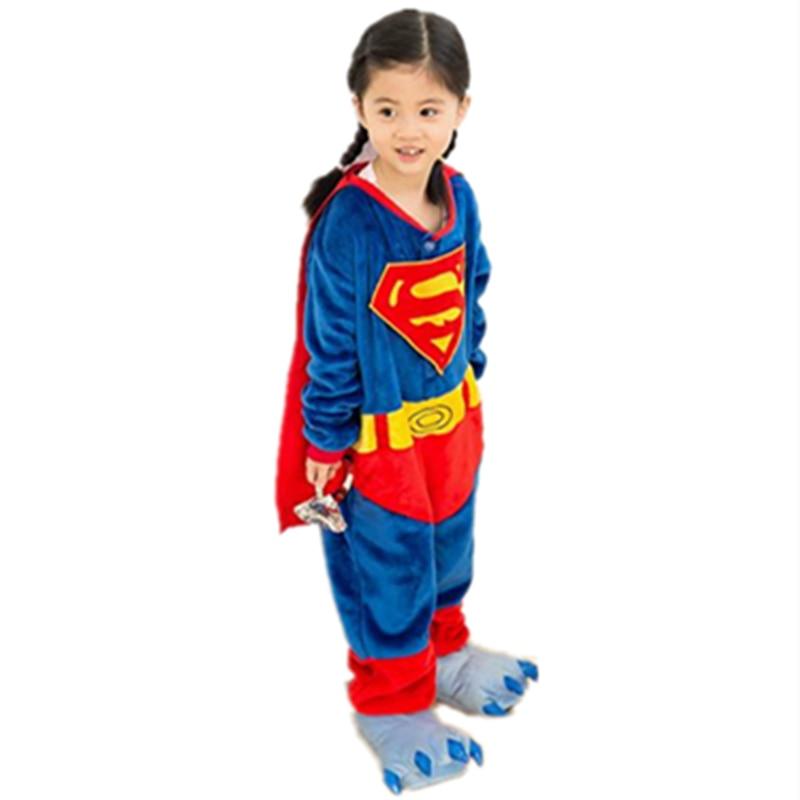 Super Hero Super men jumpsuit Cosplay Super men Onesie Children Kids Animals Pajamas Anime Cartoon Costumes kids Baby Sleepwear
