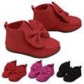 Arco menina Botas bebê sapatos recém-nascidos Antiderrapante Macio Casuais sapatos confortáveis sapatos de couro do bebê primeiros caminhantes do bebê mocassins Krystal