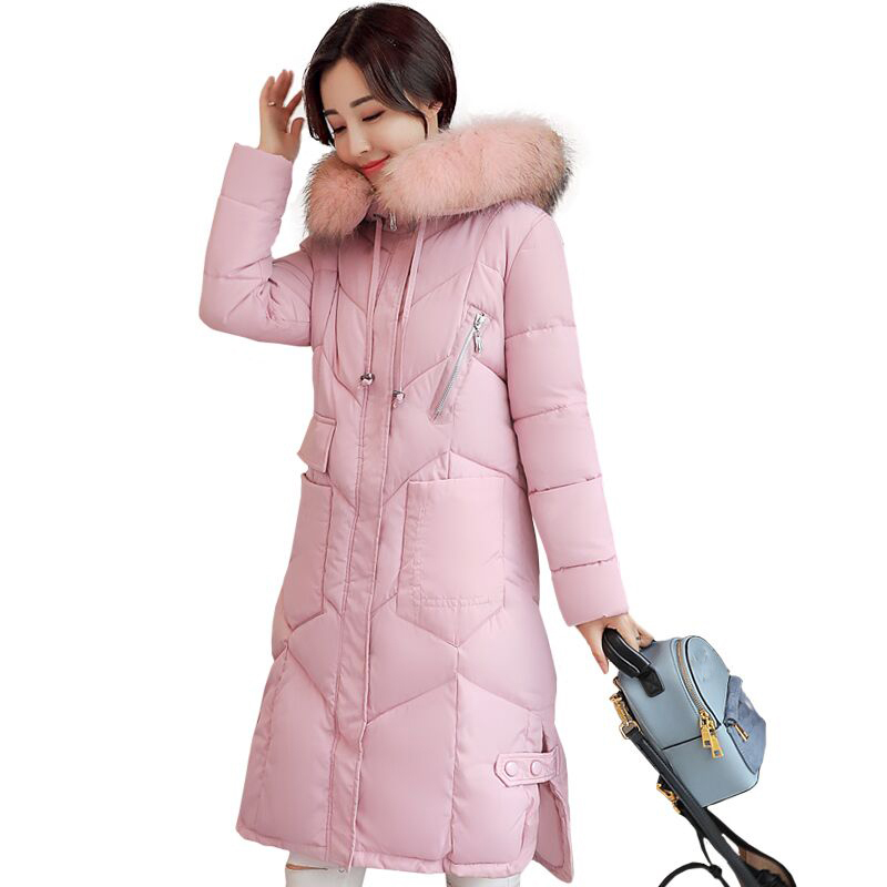 Womens Padded Down cotton coats Jacket Warm Winter Coat Female big Collar Hooded Jacket plus size thicker parka outerwear QH0750 women winter coat jacket 2017 hooded fur collar plus size warm down cotton coat thicke solid color cotton outerwear parka wa892