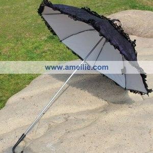 Image 2 - Miễn phí vận chuyển Gothic Lolita Phong Cách Đảng Ô Công Chúa Ren Ô Punk Tím Da Umbrella với Ô Ren Đen