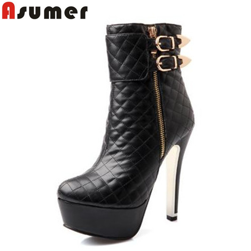Newest 2016 fashion 4 colors women boots high heels buckle ankle boots platform white black red autumn winter shoes for lady 2017 newest red white black colors mountain