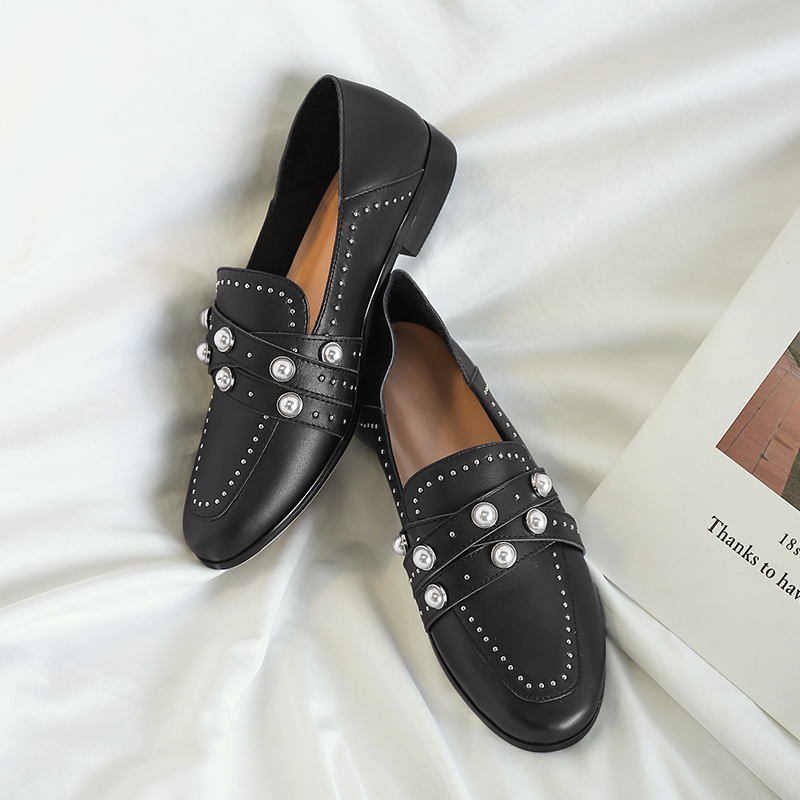 Box Chaussures Perle Sping black Shoe Oxford Rivet De Plates Noir En Mocassins Femme Appartements Femmes Cuir With Box brown Vintage brown Main Véritable Xiuningyan qxEzg6UWwW