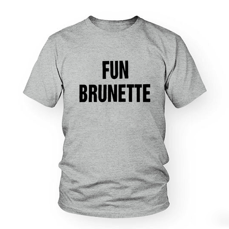 Fun Brunette Smart Blonde Printed BBF Best Friend T Shirt Women Short Sleeve Loose Shirt Funny Graphic Tee Designer Summer Top