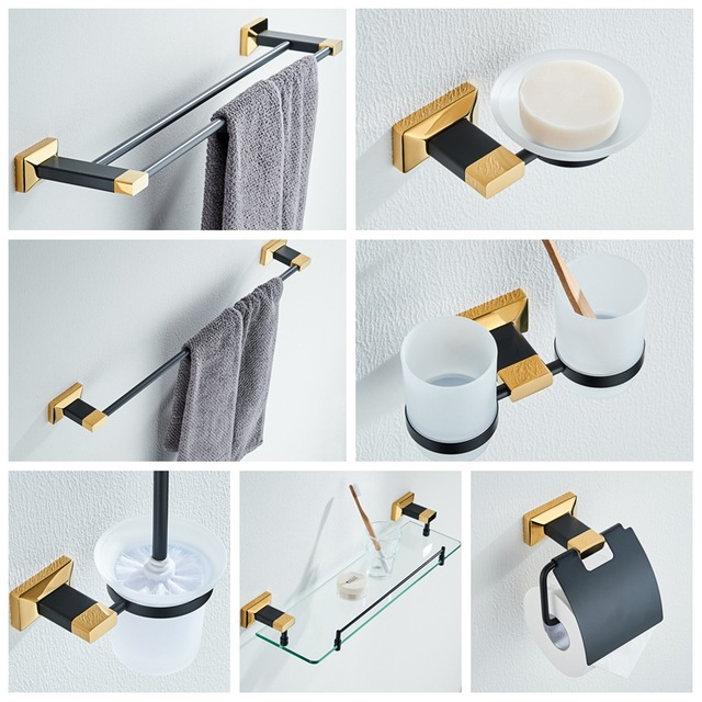 Luxury Black Gold Bathroom Hardware Pendant Brass Wall Mounted Toilet Paper Holder Bathroom Accessories Set Toothpaste Holder