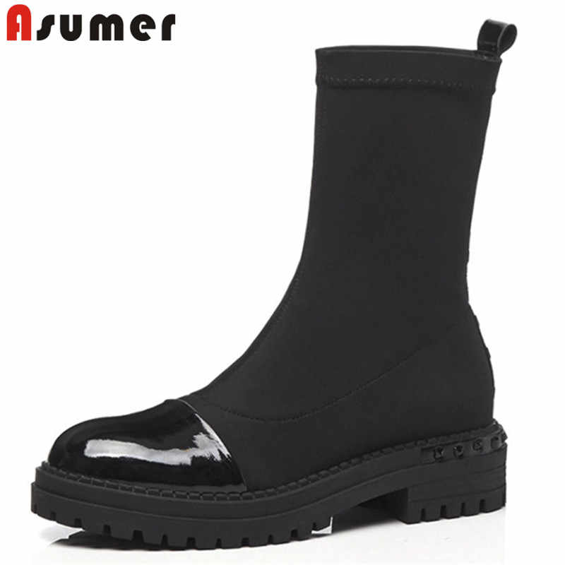 248099049dfd ASUMER 2018 fashion autumn winter boots round toe platform med heels ankle  boots for women stretch