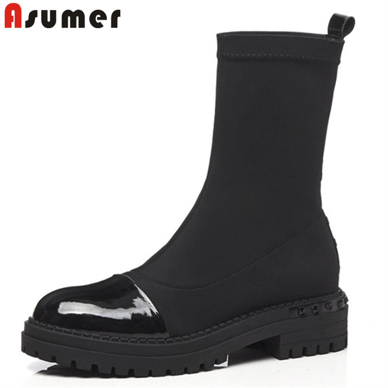 ASUMER 2018 fashion autumn winter boots round toe platform med heels ankle boots for women stretch fabric+cow leather boots ASUMER 2018 fashion autumn winter boots round toe platform med heels ankle boots for women stretch fabric+cow leather boots