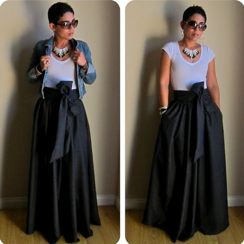 Detail Feedback Questions About Ribbons Waistline Black Satin Skirt