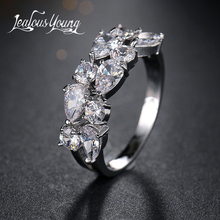 цены Classic Water Drop Cubic Zircon Engagement Ring White Gold Color Mona Lise Bague Female Jewelry AR077