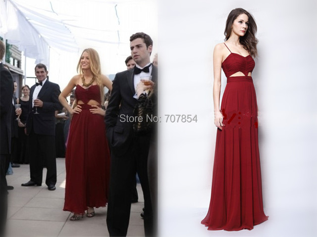 fd7be72b7 Sexy Blake Lively Serena Burgundy Chiffon Cut Out Prom Dress Evening Gown  Gossip Girl Vestidos De Festa Longo TPD097