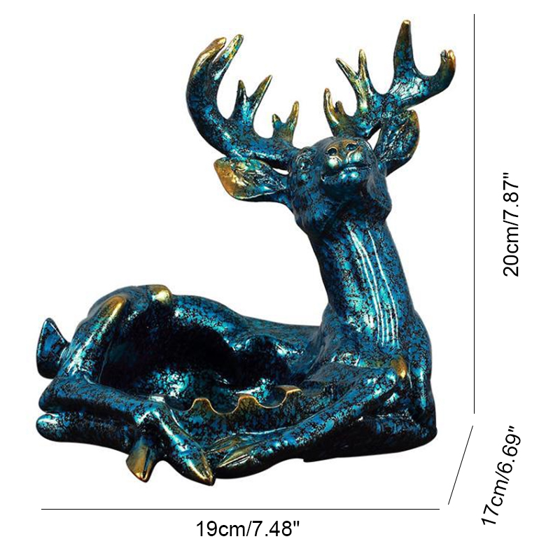Cartoon Deer Ashtray Resin Model Miniatures Figurines Creative Ashtray Deer Home Desktop Decoration Accessories Birthday Gifts in Figurines Miniatures from Home Garden