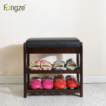 FengZe Furnishing Modern 2Tier Solid Wood Shoe Cabinet living room entryway Storage Box Chair self standing Pure leather cushion