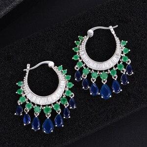 Image 5 - GODK 34mm  Elegant Water Drop Design Green Blue Full Mirco Cubic Zirconia Bridal Wedding Women Tassel Earring Fashion Jewelry