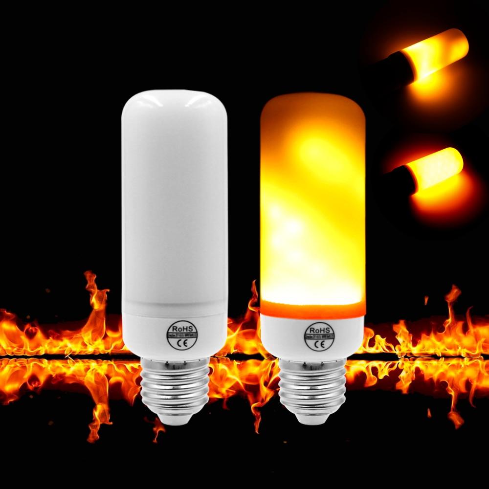 E27 E26 HA CONDOTTO Effetto Fiamma Fuoco Lampadine E14 2835 7 W 110 V 220 V Luci Creative Sensore di Gravità Fuoco Flickering Emulazione lampada
