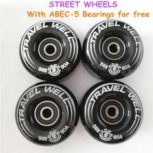 Новые 4 шт. элемент путешествия скейтборд Уличные колеса Rodas 56 мм 90A скейтборд части колеса с ABEC 5 подшипники бесплатно