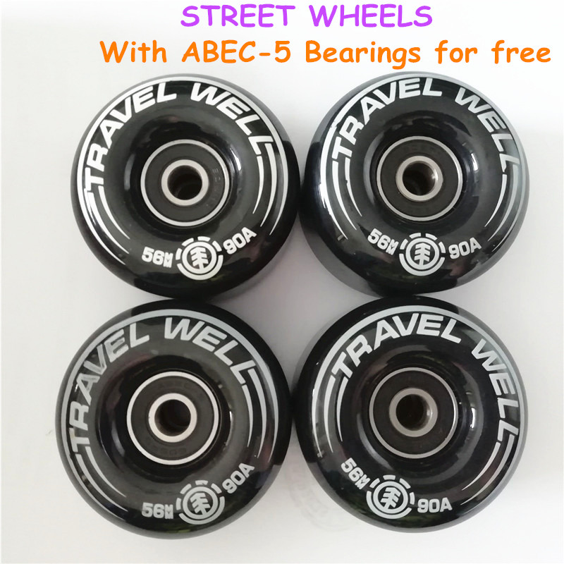 New 4pcs ELEMENT Travel Skateboard Street Wheels Rodas 56mm 90A Skateboard Parts Wheels With ABEC-5 Bearings For Free
