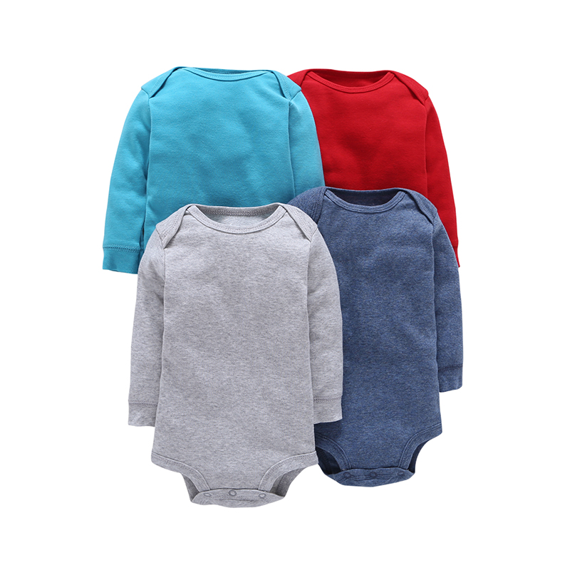 4Pcs/Lot Summer Baby Boys Bodysuits Solid Red Blue Grey Long Sleeves Baby Jumpsuit Cotton Baby Boys Clothes Sets ROBG080711283 glisten silver crystals jumpsuit long sleeves stretch pearl outfit female singer ds nightclub women s party wear sexy bodysuits