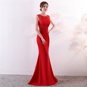 Image 5 - Its Yiiya Evening Dresses Royal O neck Sleeveless Pearls Party gown Elegant Embroidery zipper back long Trumpet Prom dress C188