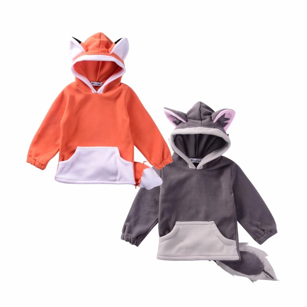 3D Cartoon Fox Baby Girls Sweatshirts Grey Full Sleeved Newborn Boys Hooded Hoodies Autumn Full Sleeve Infant Coats Winter 0-2Y