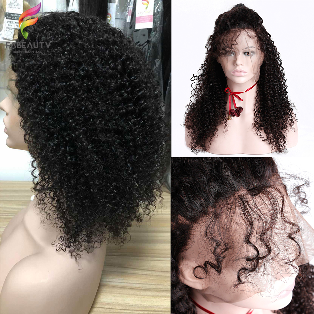 13*4 Lace Front Human Hair Wigs For Women 150% Density Peruvian Kinky Curly Lace Frontal Wig Pre Plucked With Baby Hair Fabeauty