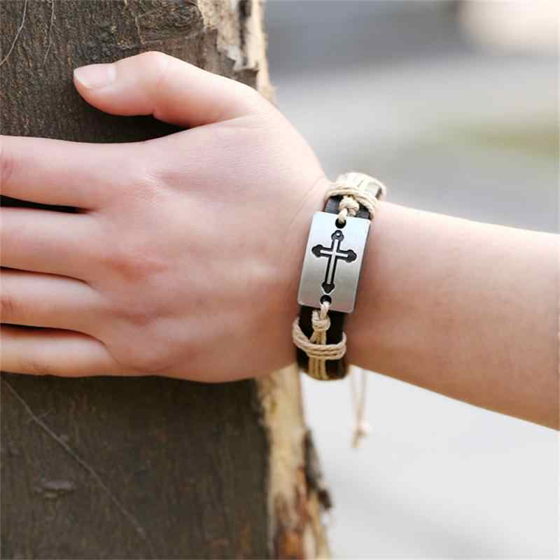 100% Genuine Leather Male Bracelet Metal Cross Retro Hemp Rope Punk Cuff Bangle Single Buckle Belt Bracelet Pulseras Hombre