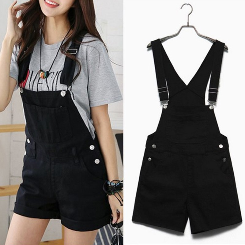 Women Denim   Shorts   Overalls Female Casual Loose Slim Denim Candy Color Pockets Straps   Shorts