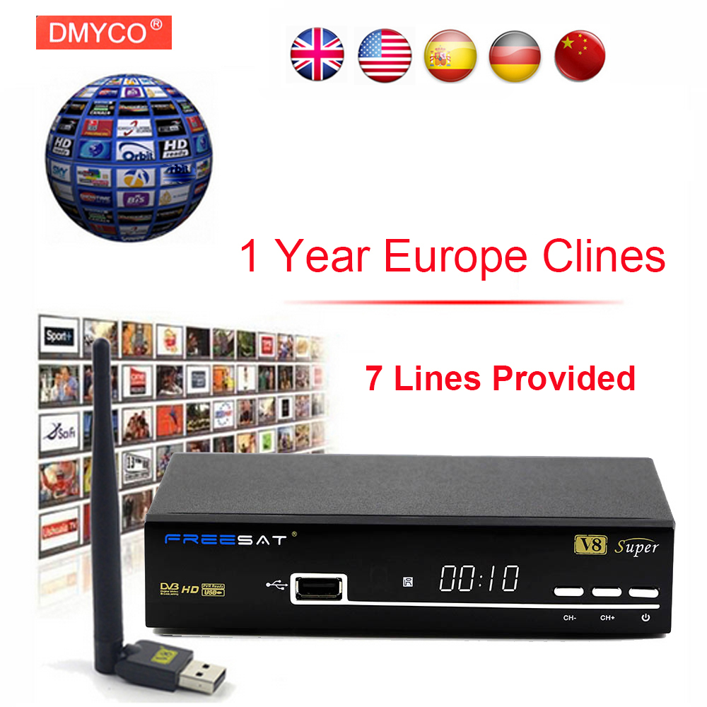 1 Year Europe C-line Server HD Freesat V8 Super DVB-S/S2 Satellite Receiver Full 1080P Italy Spain Arabic With USB Wifi Receptor wholesale freesat v7 hd dvb s2 receptor satellite decoder v8 usb wifi hd 1080p support biss key powervu satellite receiver