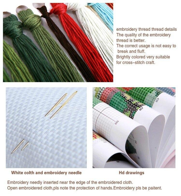 Neue Weihnachten Snowy Landschaft Für Stickerei handarbeiten Handwerk 14CT Unbedruckten Kreuzstich Kits Art DMC DIY Qualität Handgefertigten Dekor - 3
