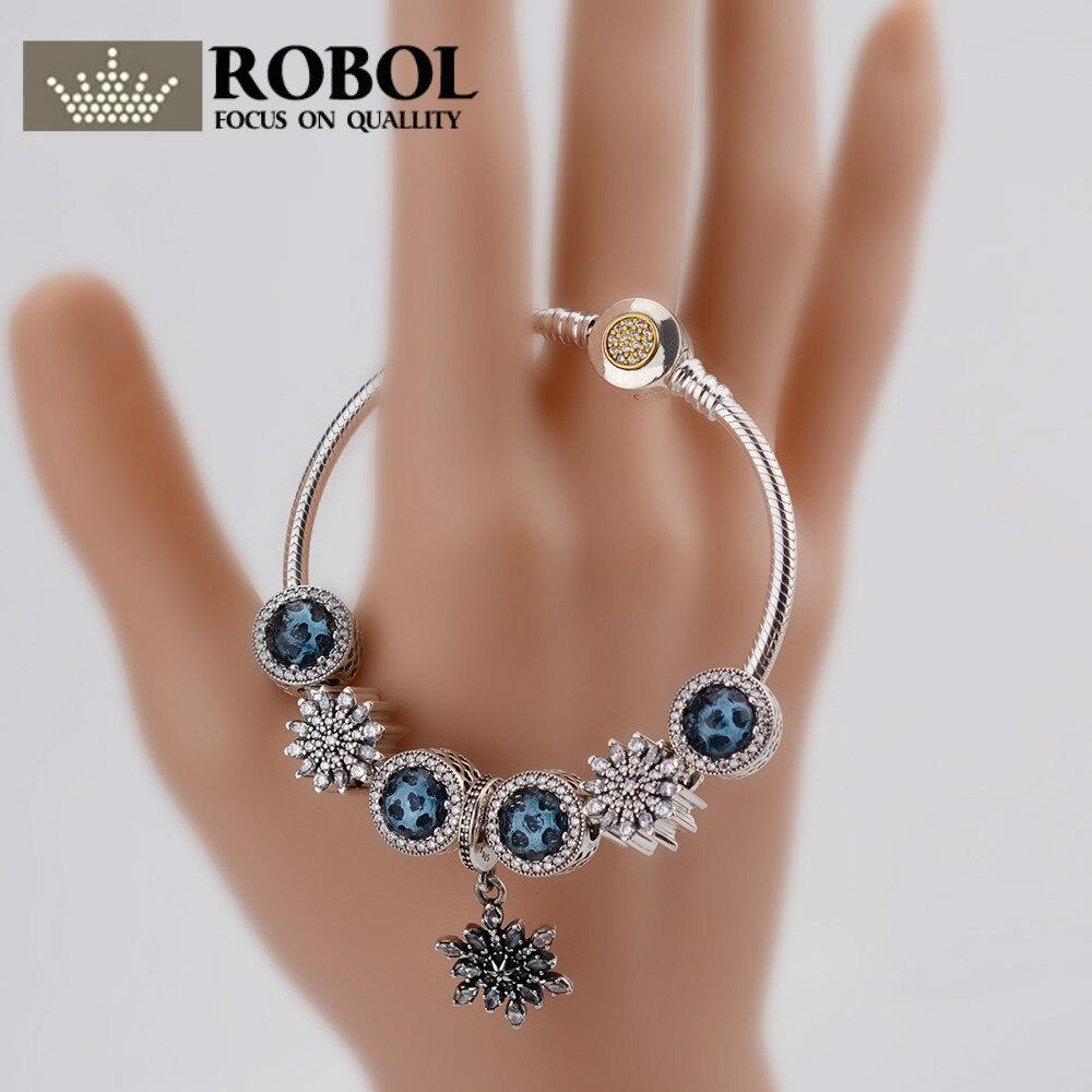 ROBOL Fashion Silver Women Friendship Charm Bracelets Bangles Snowflake Pendants Charms Bead fit European Pan Bracelets friendship bracelets