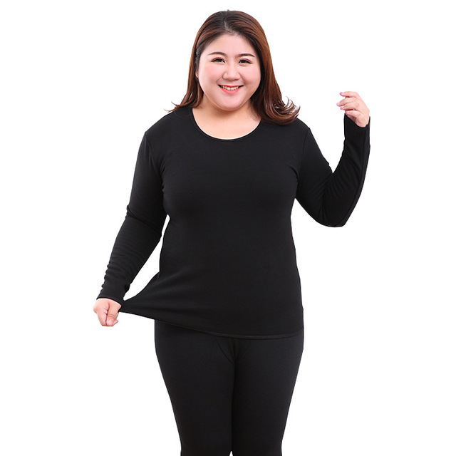 Thermal Underwear Sets For Women Long Johns Winter Warm Cotton Fleece Thick Velvet Wool Sleep Top Bottoms Plus Size 6XL Oversize