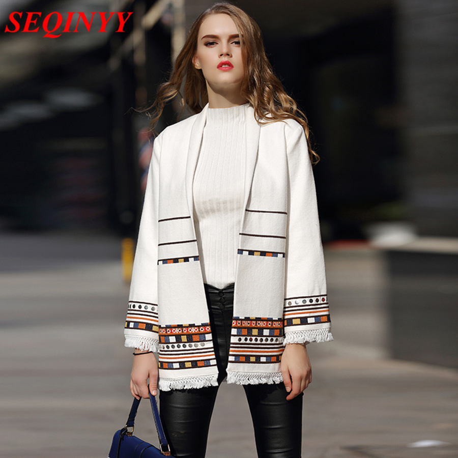 SEQINYY Wool Jacket 2018 High Quality Winter Autumn New Fashion Embroidery Tassel Open Stitch Warm White Jacket