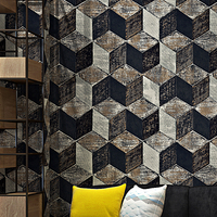 High Quality 3D Stereoscopic Geometric Lattice Wallpaper PVC Waterproof Embossed Living Room TV Backdrop Wall Papers