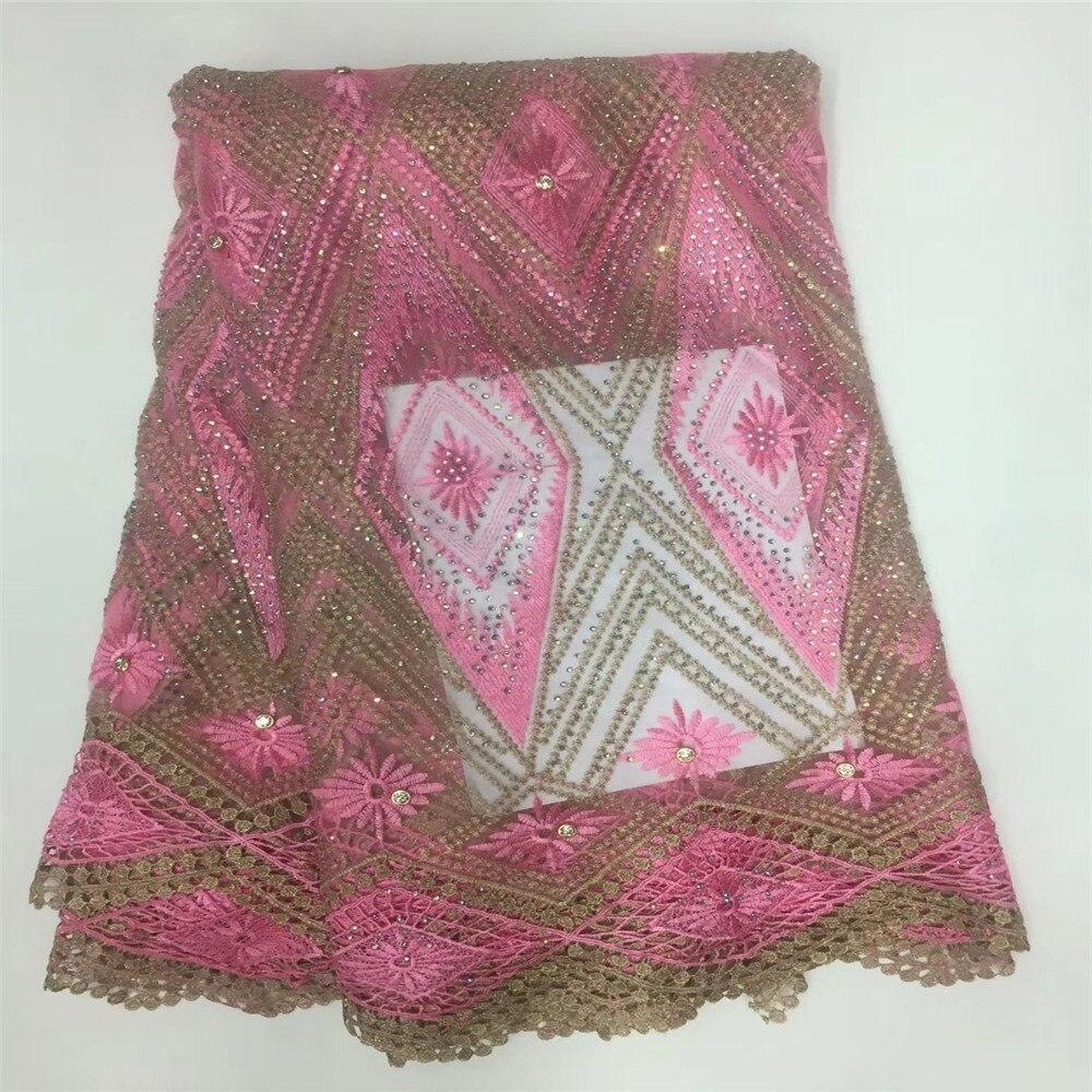 Amour merci dentelle rose mélange or africain français Net dentelle brodé dentelle tissu pour X66-3 de mariée