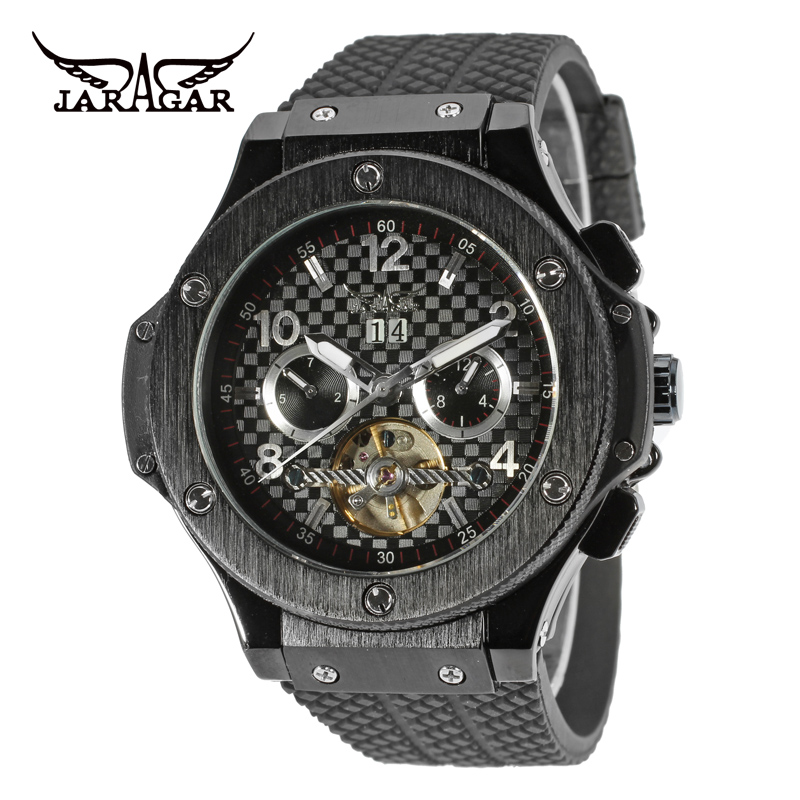 JARAGAR Men Luxury Brand Watch Black Rubber Sport Tourbillion Automatic Mechanical Wristwatches Relogio Releges 2017 New jaragar men luxury watch stainless steel tourbillion automatic mechanical wristwatch relogio releges