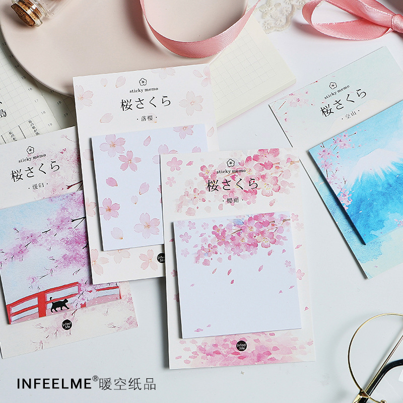 30 Sheets/pad Japanese Fujisan Sakura Sticky Note Book Kawaii Paper Memo Pad Planner Sticker Post Cute Office Stationery