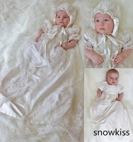 Two pieces lace Appliques Baby Girl White/Ivory short sleeve Newborn toddler Christening Gown Baptism Dress + bonnet