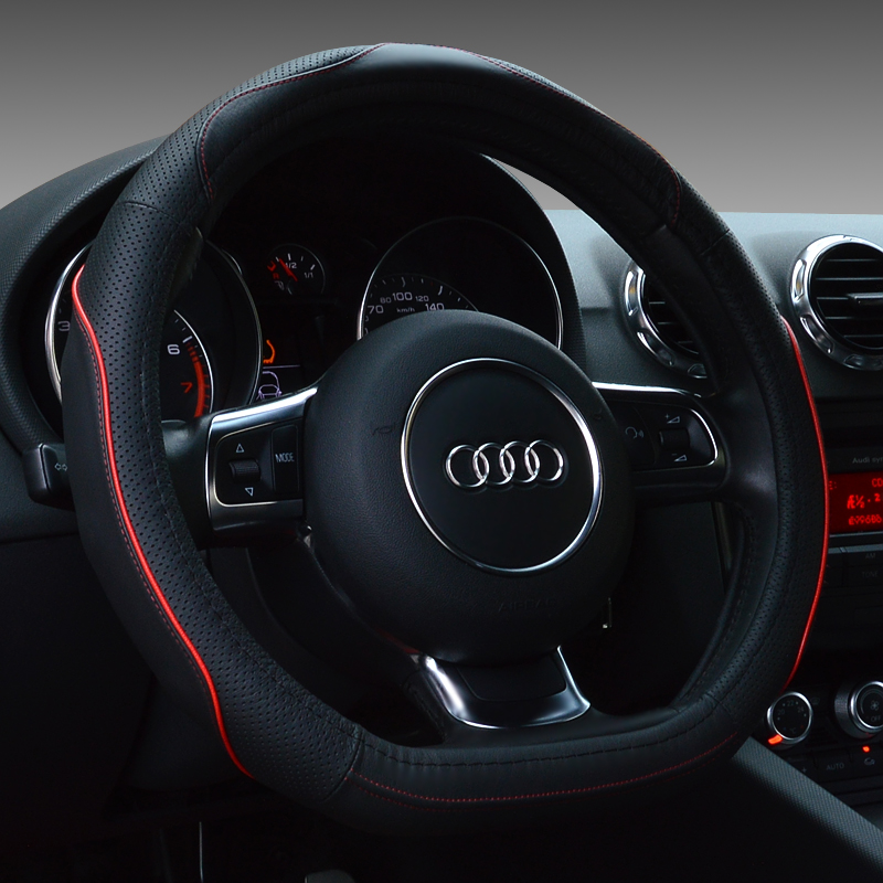 d shape genuine leather steering wheel cover for audi a5 tt s3 c200linterior accessories in. Black Bedroom Furniture Sets. Home Design Ideas