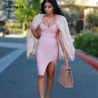 2015 New Olive V Neck Sexy Spaghtti Straps Bandage Dress Women Bodycon Cut Out Evening Party