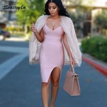 Seamyla 2018 New Sexy Bandage Dresses Summer Clubwear Spaghtti Strap V Neck Vestidos Women Split Bodycon Evening Party Dresses