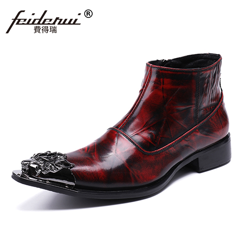 Plus Size Runway Man Handmade Pointed Toe Metal Tipped Shoes Vintage Designer Genuine Leather Men