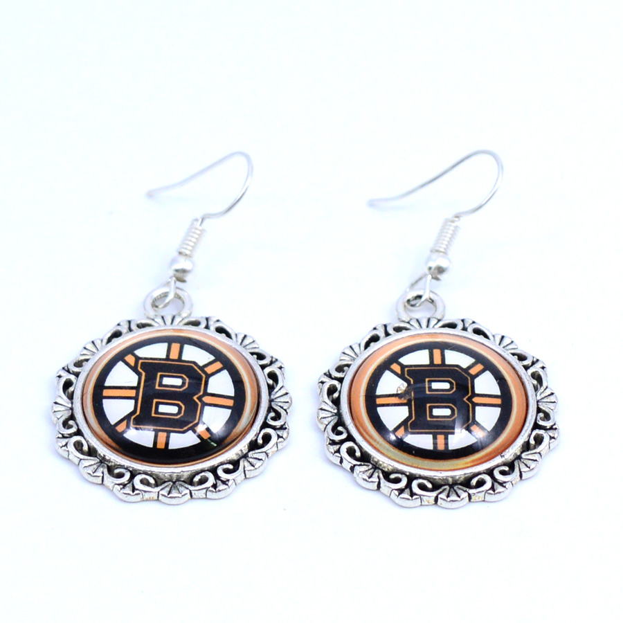 Earrings NHL Boston Bruins Charms Dangle Earrings Sport Earrings Ice Hockey Jewelry for  ...